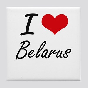 I Love Belarus Artistic Design Tile Coaster